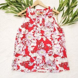 Dalia sleeveless red pink floral blouse size large